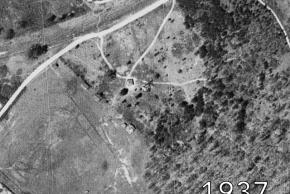 Aerial view of the future site of Shrevewood Elementary School in 1937. The area where the school is located is a small farm.