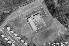Aerial view of Shrevewood Elementary School in 1972. The school's footprint is the same as when it opened in 1966.