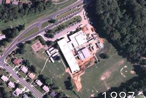 Aerial view of Shrevewood Elementary School in 1997. The building is undergoing a renovation.