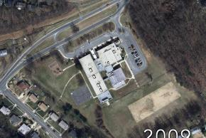 Aerial view of Shrevewood Elementary School in 2009. The building appears much as we know it today.